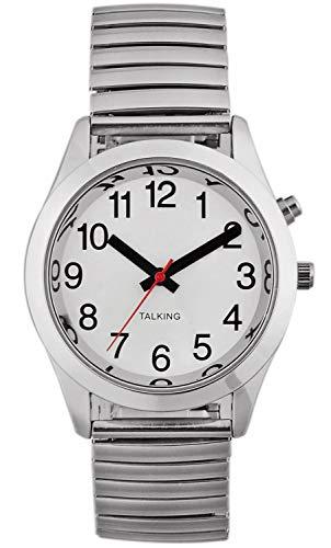 Reloj parlante francés para hombre, pulsera de cuarzo con correa extensible de acero inoxidable