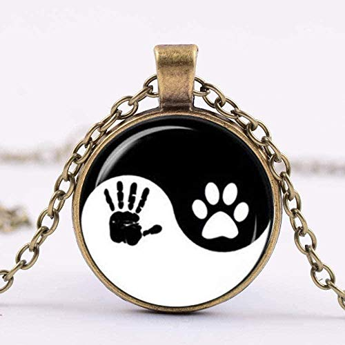 LBBYMX Co.,ltd Necklace Fashion Beautiful Yin Yang Paw Print and Handprint Pendant Necklace Taichi Black and White Glass Cabochon Necklace Women Men