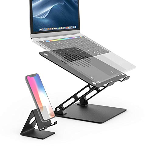 Laptop Stand for Desk and Lap, woleyi Adjustable Notebook Stand with Heat-Vent Ergonomic, Laptop Stand with One Mobile Phone Holder, Compatible with MacBook Air Pro, Dell, HP 10-18 Inch (Black)