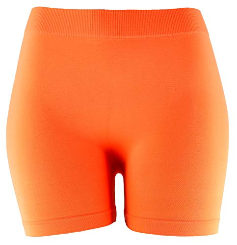 MOPAS Basic Solid Biker Short Spandex Yoga Leggings (Neon Orange)