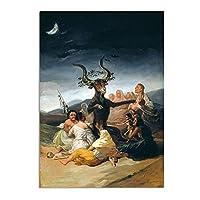 zkpzk フランシスコ・デ・ゴヤ:魔女の安息日油絵キャンバスアートプリント壁アート写真リビングルームの寝室の装飾ポスター-50X70Cmx1フレームなし
