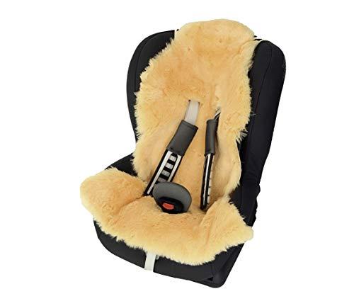 Baby Lammfell für Buggy/Kinderbett Kindersitz-Einlage in Naturform 80x50 cm mit Gurtöffnungen