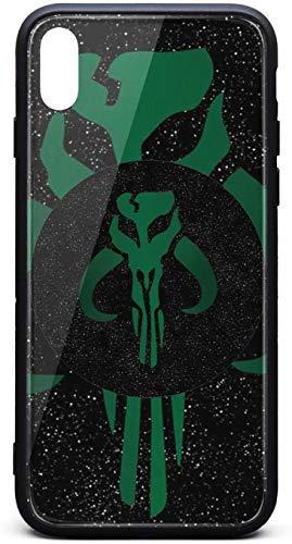 Fancy Phone Case for iPhone Xs Max Mandalorian-Skull-Symbol-Design- Unisex Popular Cristal Templado Negro Anti-Arañazos TPU Caucho Bumper Cover Back Cover