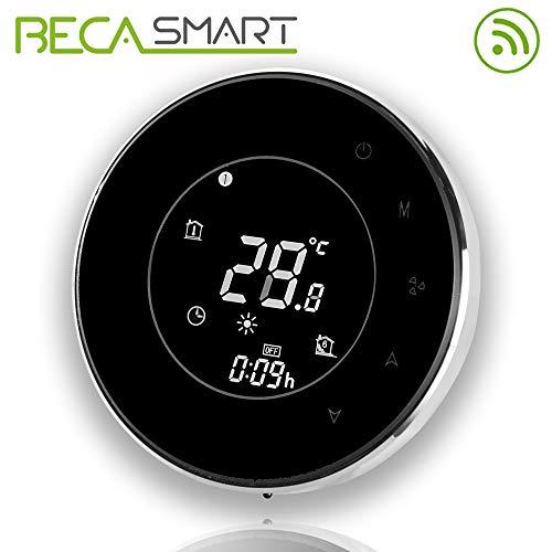 Beca 95 ~ 240VAC dos Pipe WiFi programable redondo pantalla táctil de aire acondicionado termostato (BAC-6000ALW negro)