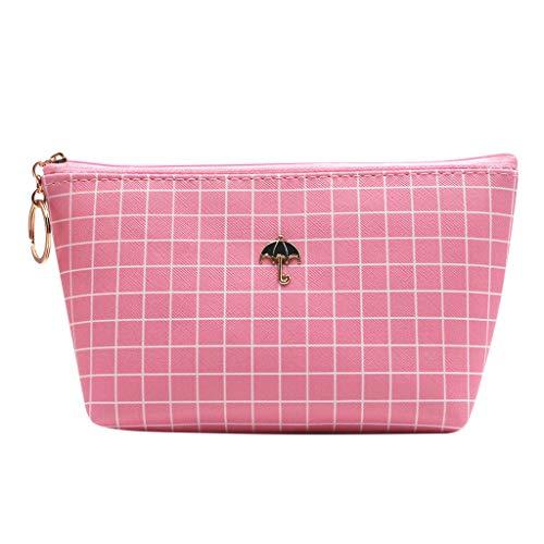 XLGX Sac Cosmétique Toile Carte Paquet Clé sac Téléphone Portable sac Lavage sac Tissu Fermeture Éclair Pièce Bourse sac de Rangement Cosmétique (Plaid rose) (D)