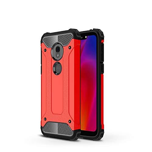 Yoedge Capa para Motorola Moto Z4 Play, proteção resistente contra quedas à prova de choque de camada dupla de silicone TPU + capa traseira de policarbonato rígido compatível com Motorola Moto Z4 Play para homens e mulheres, vermelha