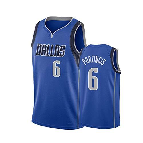 ZRHZB Mavericks No. 6 Porzingis Camiseta de Baloncesto para Hombre Fan Transpirable Resistente al Desgaste Camiseta Uniforme(Tamaño: S-XXL),S