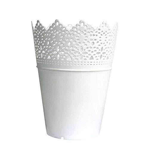 Leisial Solide Couleur Pot de Fleurs Vase à Plante Décoration de la Maison Support Stylo en Plastique Style Creux Floral Organisateur de Pinceau de Maquillage