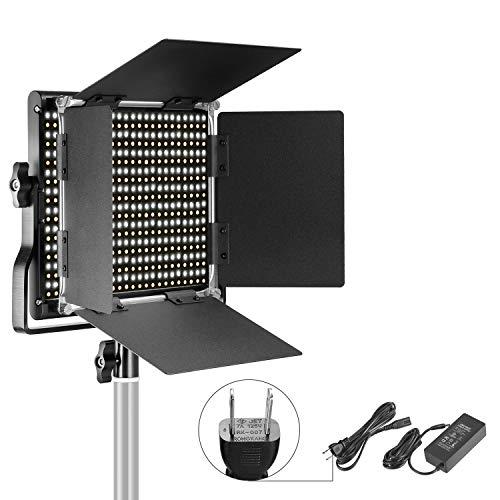 Neewer 調光可能な二色660 LEDビデオライト 耐久性のあるメタルフレーム、 Uブラケットと遮光板付き 3200-5...