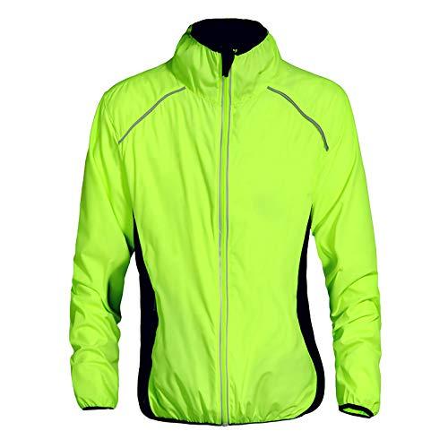 Beylore Fahrradjacke Damen Sommer Wasserdicht Atmungsaktiv Reflektierend Winddicht Lang Sportjacke Laufjacke Fahrradbekleidung Damen Fahrradtrikot Fahhrad Jacke Trikot Radtrikot,Grün,XL