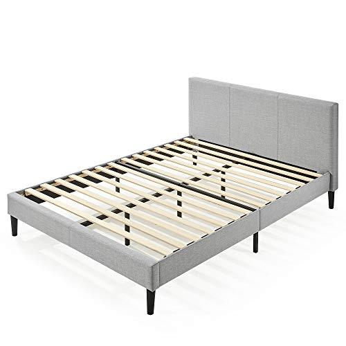 Zinus (ジヌス) すのこ ベッド フレーム セミダブル 高さ31cm ヘッドボード付き Upholstered Platform 布張り 【日本正規品】