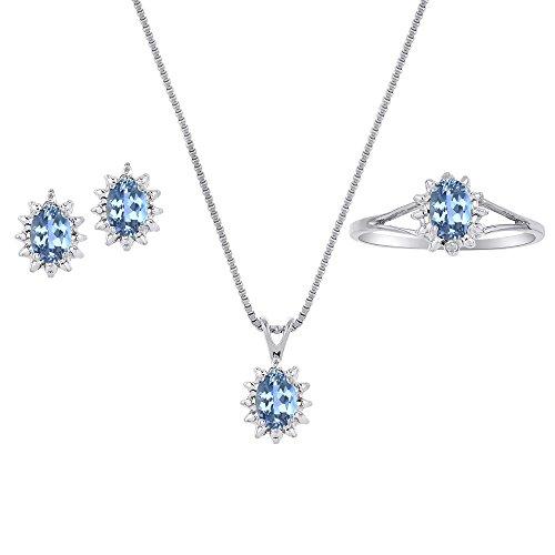 December Birthstone Set - Ring, Earrings & Necklace Blue Topaz 14K Yellow Gold or 14K White Gold