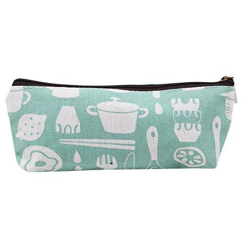 Toporchid Baumwolle und Leinen Bleistift Box Pen Case Geldbörse Make-up Tasche Student Schreibwaren (grün Geschirr)