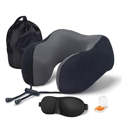 Reisekissen 100% reine Memory-Schaumstoff-Kissen, komfortables und atmungsaktives Cover, maschinenwaschbar, Flugzeug-Reise-Kit mit 3D-konturierter Augenmasken, Ohrstöpsel und Luxus-Tasche, Standard, G