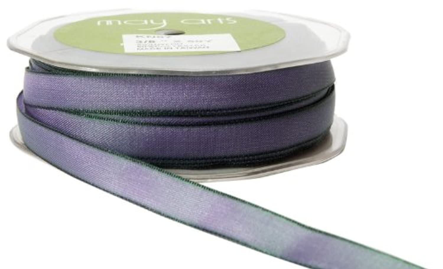 May Arts 3/8-Inch Wide Ribbon, Purple and Green Two Tone