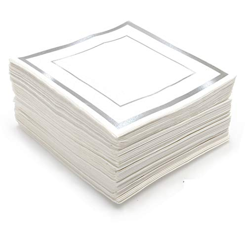 GLAM Silver Napkins, Cocktail Size, 100-Pack - 5x5 Inches White And Silver Napkins for Wedding Party