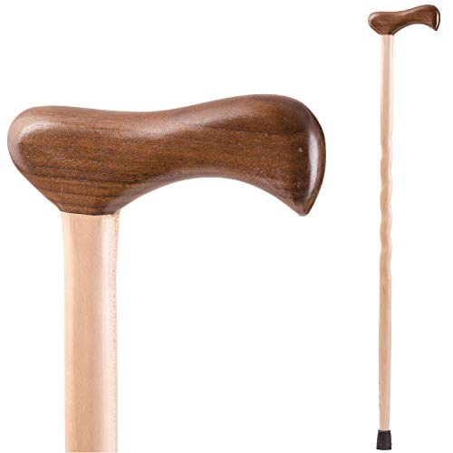 Handcrafted Wood Walking Cane - Made in the USA by Brazos - Twisted Maple Walnut Lightweight - 40 Inches