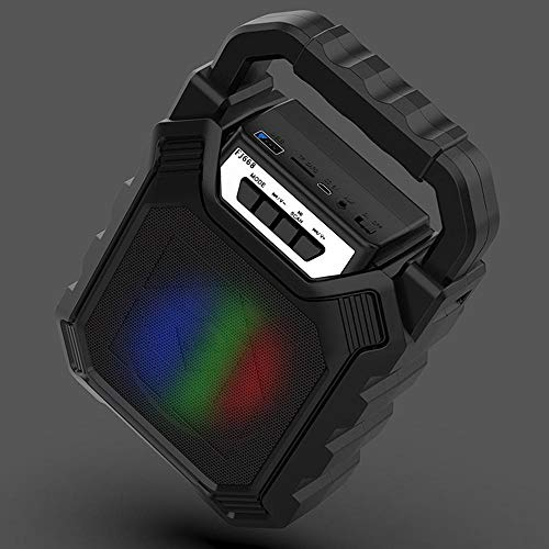 ist Präfekt für Streaming / Podcasting / Gaming Tragbare drahtlose Bluetooth 3,5mm 1200mAh HIFI Music Lautsprecher-Unterstützung TF. Karte FM Radio mit Mikrofon ( Color : Black )