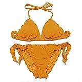 Bikinis 2020 Traje de baño para Mujer Traje de baño con Vendaje con Volantes Conjunto de Bikini brasileño Negro Traje de baño Ajustable Ropa de baño Triangular