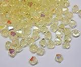 Juego de 40 perlas de cristal bohemias, 4 mm, doble cono, perlas checas, perlas de cristal, cuentas de cristal, bicone, selección de colores, cristal, Jonquil ab., 4x4 mm