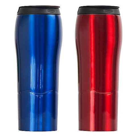 Mighty Mug Stainless Steel Go Travel Mug 'The Mug That Won't Fall Over' Thermos 18 oz. / 0.53L (Red) by Mighty Mug