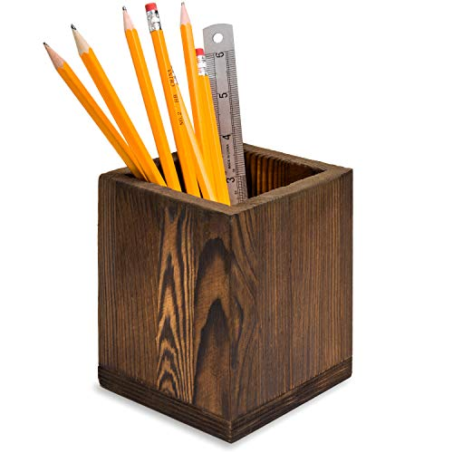 Dark Brown Natural Grain Wood Desktop Pen & Pencil Holder Cups/Office Supplies Organizer Caddy
