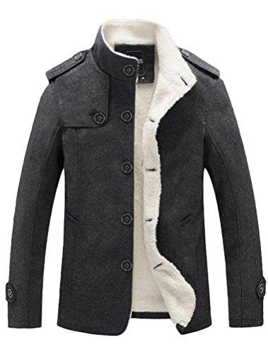 MatchLife Herren Wollmantel Wintermantel Winter Jacke Warm Wolljacke Männer Parka Style1-Dark Grey M