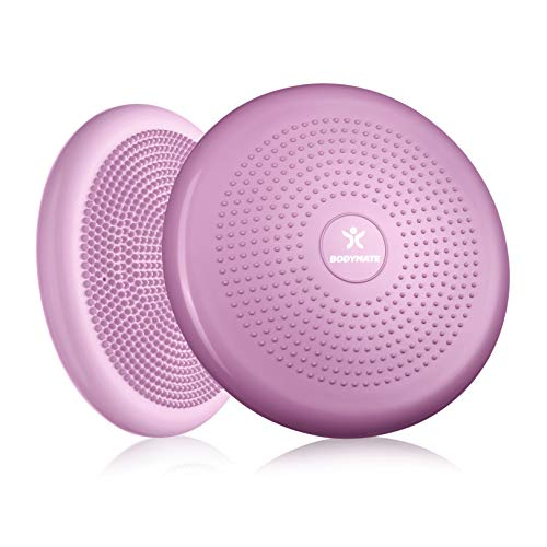 BODYMATE Cuscino propriocettivo Gonfiabile per Equilibrio comprensivo di Pompa - Cuscino con rilievi, Core Training, Fitness, Allenamento di coordinazione e della Schiena - Princess Pink Ø 34cm