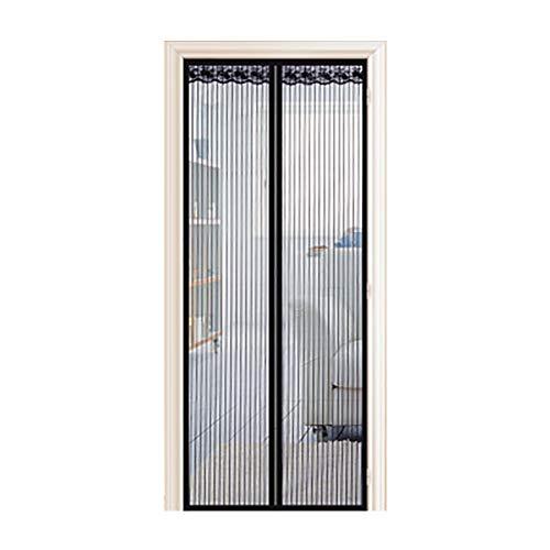 Schuifgordijn met dubbele deuren, magneetsluiting, zwaar netgordijn met muskietennet, openslaande deuren, vissersboot, garage, superstil, handsfree 90x210cm(35x83inch) Zwart