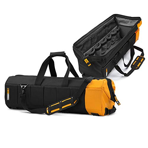 ToughBuilt - 30' Massive Mouth Tool Bag | 65 Pockets & Loops, Padded Shoulder Strap, Heavy-duty Steel Reinforced Handles, Zipper Lock Large Wide Mouth Tool Storage/Organizer Box - (TB-60-30)