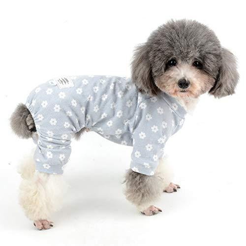 Zunea Schlafanzug für kleine Hunde, Gänseblümchen-Motiv, Baumwolle, Overall, Schlafanzug, Schlafanzug, Hemd mit Hose, Haustier, Hund, Katzen, vier Beine, für alle Jahreszeiten, Blau, XXL