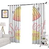 YUAZHOQI Sweet Dreams - Cortina opaca con aislamiento térmico, diseño de jalea para dormir con alas, diseño de letras, caligrafía, postre, cortinas personalizadas, 132 x 241 cm, color rosa crema