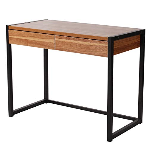eSituro Table d'ordinateur en Bois et Acier avec 2 tiroirs, Design Rétro Bureau de Travail,SCD0023 Hêtre Foncé