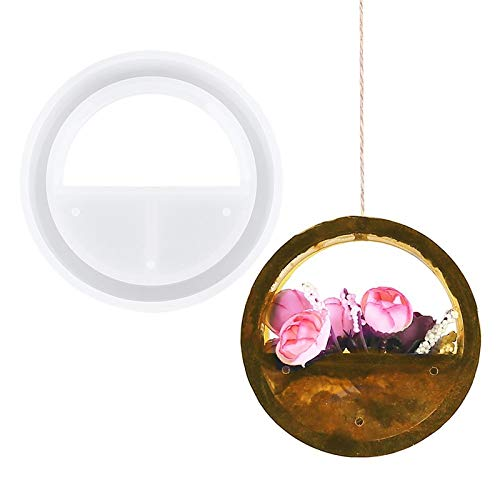 Round Concrete Silicone Mold Wall Hanging Flower Pot Molds Crystal Epoxy DIY Cement Gypsum Plant Potted Mould Home Decoration