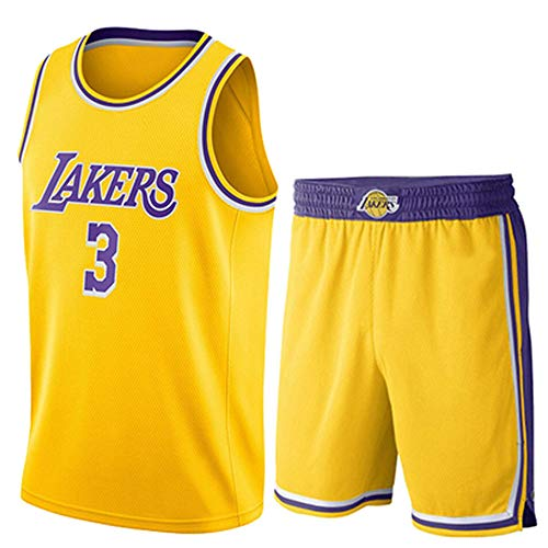 Männer Und Frauen Jersey - NBA Lakers 3# Anthony Davis Trikots Atmungsaktives Besticktes Mesh Basketball Swingman Shirt Set,Gelb,S