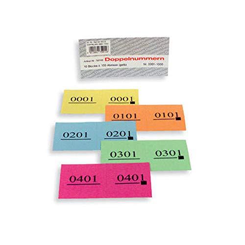 PARTY DISCOUNT® Doppelnummern / Garderobenmarken- Block 1000 Abrisse Nr 01-1000 blau