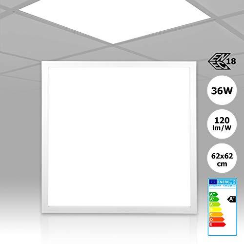 Preisvergleich Produktbild LED Panel 62x62 neutralweiß 5000K ultraslim 36W PMMA Einbauleuchte mit Treiber,  120lm / W - hohe Lichtleistung Rasterleuchte Büroleuchte PLs3.0 (ohne Montagematerial)