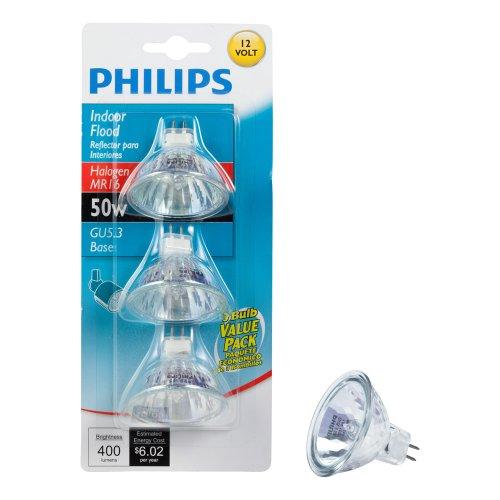 Philips 415802 Landscape and Indoor Flood 50-Watt MR16 12-Volt Light Bulb, 3-Pack