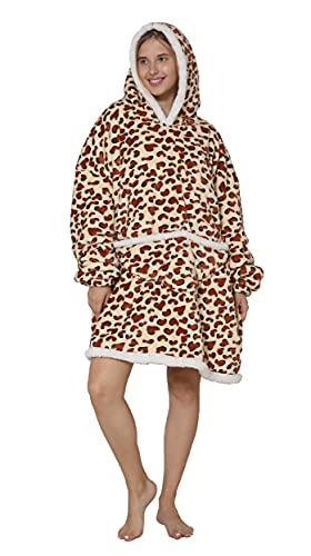 CHOBES Sudadera con capucha para mujer y hombre con bolsillo de canguro, talla única, Estampado De Leopardo, talla única