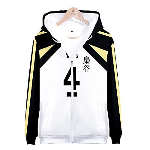 Zhengyun Anime Haikyuu Cosplay Felpa con Cappuccio Fukurodani High School Volleyball Felpa Zipper Sportswear Coat Costume Uniforme Scolastica Giacca Full Zip Maglione Outwear per Donna Uomo