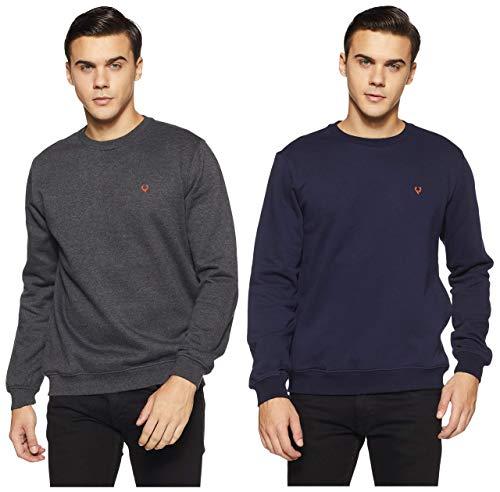 Allen Solly Men's Sweatshirt (ASSTORGPW14019XL_Anthra Melange VMBK30) and Men's Sweatshirt (ASSTORGP779292XL_Navy 19-3810 TCX)