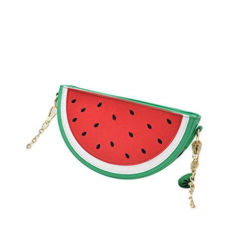 Daliuing Diagonale Tasche aus PU-Leder, süßes Obstmuster, Cartoon-Reißverschluss, einzelne Schultertasche, kleine Handtasche, Clutch, Taschen für kleine Gegenstände (Wassermelone)