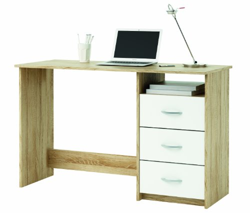 Demeyere 101000 Schreibtisch, 1 Fach und 3 Schubladen, sonoma eiche mit Struktur, weiß