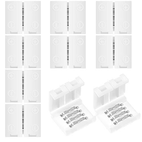 10 conectores LED de 4 pines para 10 mm de ancho RGB 5050 flexibles de tira de luces LED sin soldadura RGB LED conector de luz, no impermeable