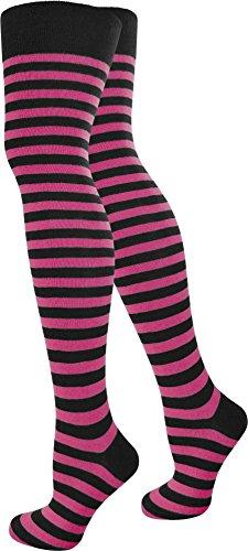 normani 3 Paar Damen Overknees Kniestrümpfe Geringelt handgekettelte Fußspitze wählbar Farbe Schwarz/Pink/schmal