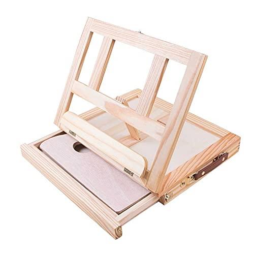 SJHFG Caballete de mesa de escritorio de madera con cajón portátil ajustable caballete de escritorio para manualidades, estación de trabajo, pintura, boceto y tablero de dibujo