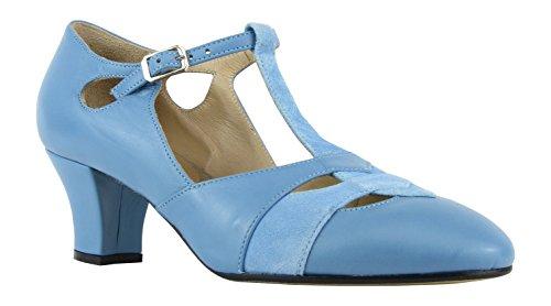 Rumpf Premium Line 9233 Damen Swing Lindy Hop Balboa Tanz Schuhe Leder Absatz 5 cm, Blau, 38 EU - 2