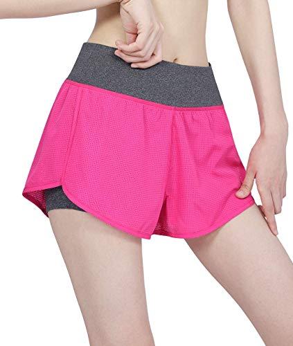 DISHANG Pantalones Cortos Running 2 En 1 Compresión Mujer Bolsillo De Doble Capa (Rosado, L)