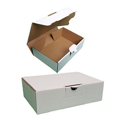 100 Maxibriefkartons Versandkartons Faltschachtel Faltkarton Maxibrief 350 x 250 x 50 mm, Weiss, MB-5