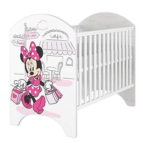 iGLOBAL Cama infantil para bebé, con protección anticaídas, color blanco, con colchón de espuma y fibras de coco, 120 x 60 cm (Minnie Paris Cafe)